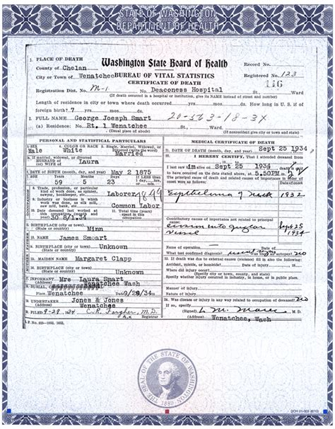 Seattle Washington Birth Records George Joseph Smart 1875 1934