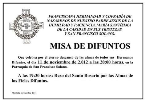 modelo como invitar a misa de los difuntos invitaci 243 n misa de difunto imagui