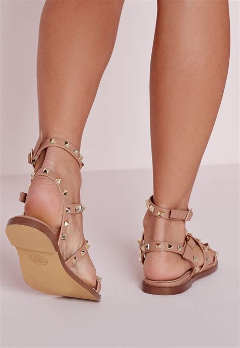 blush colored sandals missguided studded flat gladiator sandals blush in pink lyst
