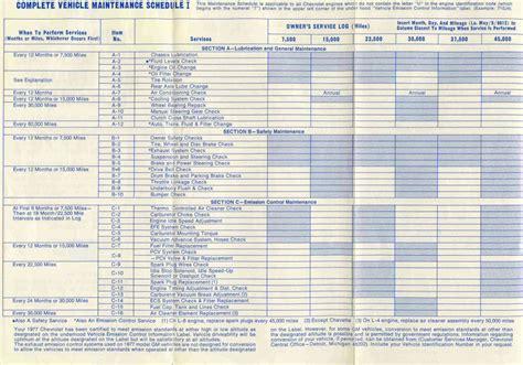 chevrolet service schedule will price house maintenance schedule