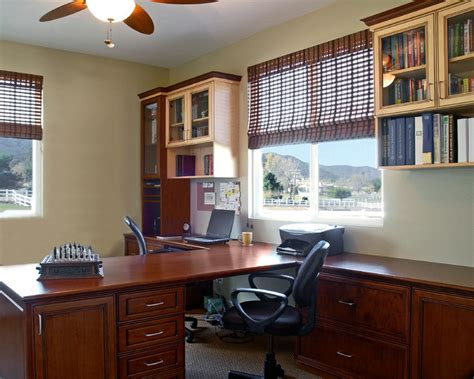 two tone summer and maple home office contemporary