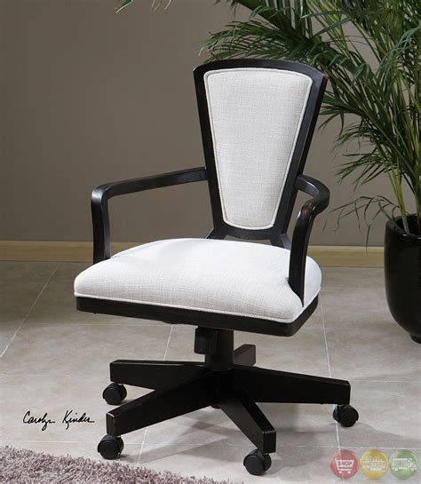 modern white desk chair exavier white linen wood frame modern desk chair 23151