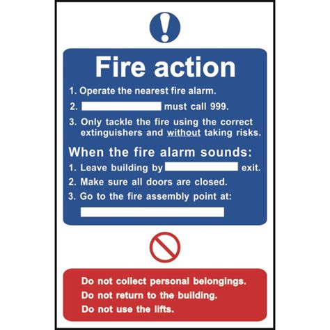 Packing Benches Uk Fire Action Notice Sign Ese Direct