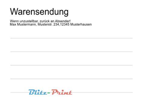 Adressaufkleber Warensendung by Aufkleber Versand Etikett Druck Warensendung Absender