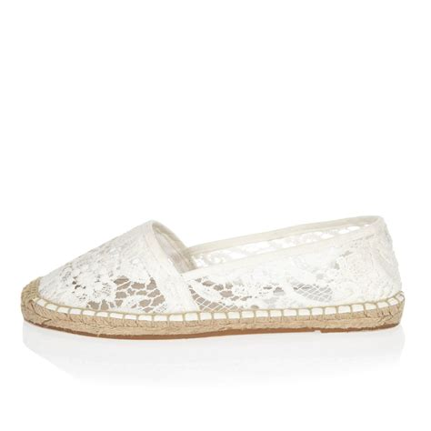 river island white lace espadrille shoes in white lyst