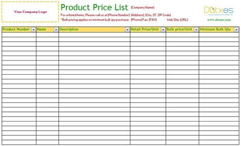 price list template excel product price list excel standard best free home