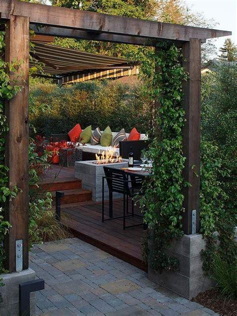 offene feuerstelle terrasse terrasse garten pergola sichtschutz lounge offene