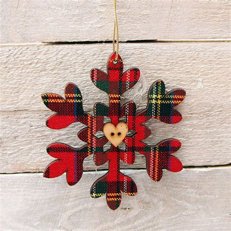 set of two tartan christmas tree decorations by red berry