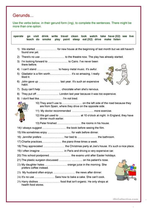 Infinitives And Gerunds For Uses And Purposes Worksheets