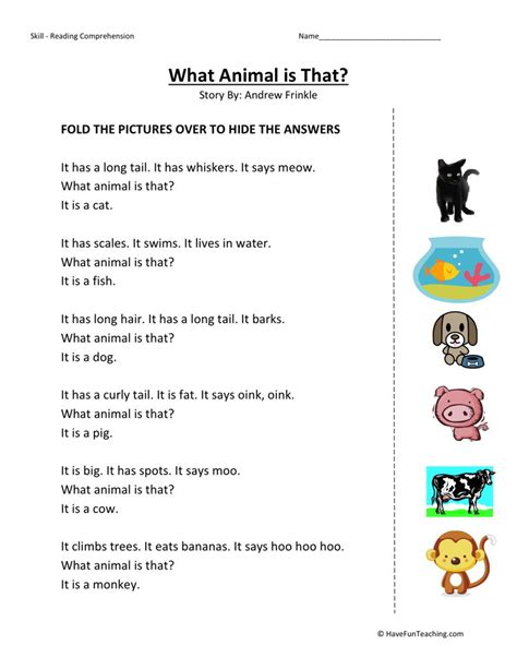 Kindergarten Reading Comprehension Worksheets by Reading Comprehension Worksheet What Animal Is That