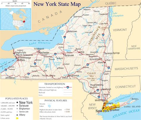 state of new york map with cities map of new york state major cities