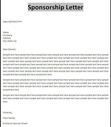 templates for sponsorship letters sponsorship template sles and pdf excel about