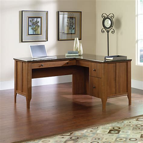faux marble top desk sauder appleton collection faux marble top l desk sand