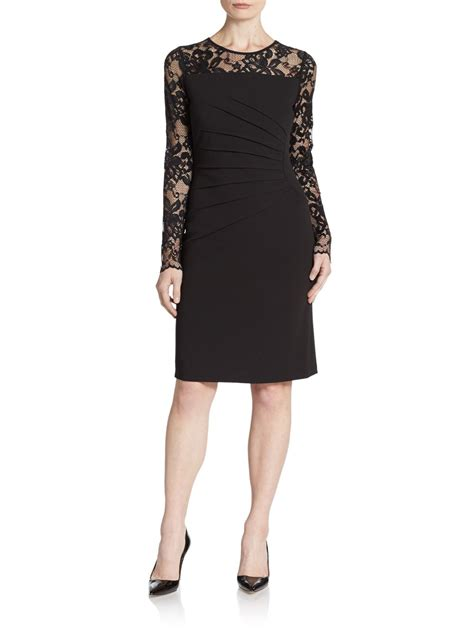 Ivanka Black Dress ivanka lace sleeve crepe knit sheath dress in black