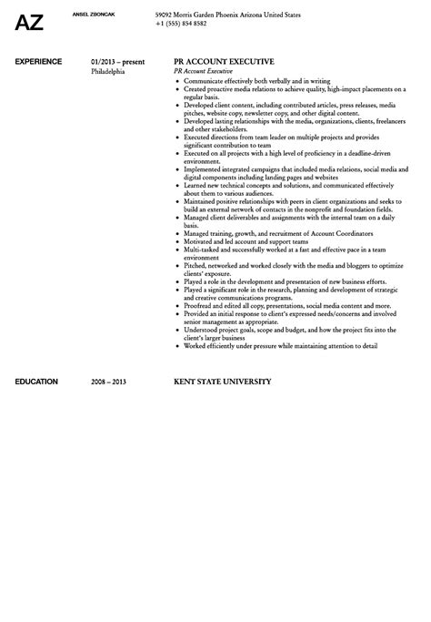 Relation Executive Resume by Relations Account Executive Resume Sle Velvet