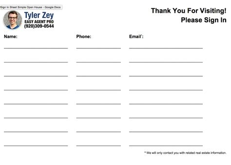 open house guest registration form template open house sign in sheet templates free printable