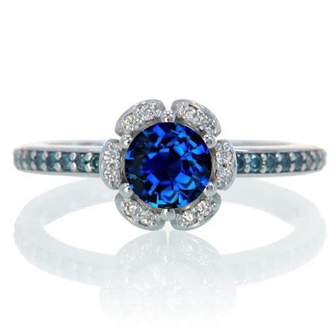 1 5 carat unique flower halo sapphire and