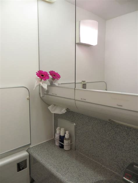 bathroom british british airways new first class review lhr to jfk and