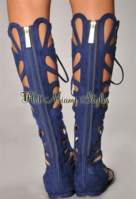 Dress Daster Midi Cleopatra navy blue cut out knee high gladiator sandals