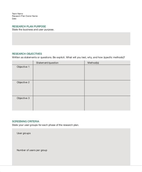 Template For Research by 8 Research Plan Templates Free Sle Exle Format