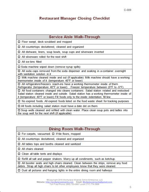 Closing Manager Checklist Workplace Wizards Restaurant Consulting Restaurant Closing Checklist Template