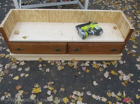 how to make a dresser into a bench repurposed dresser bench my repurposed life