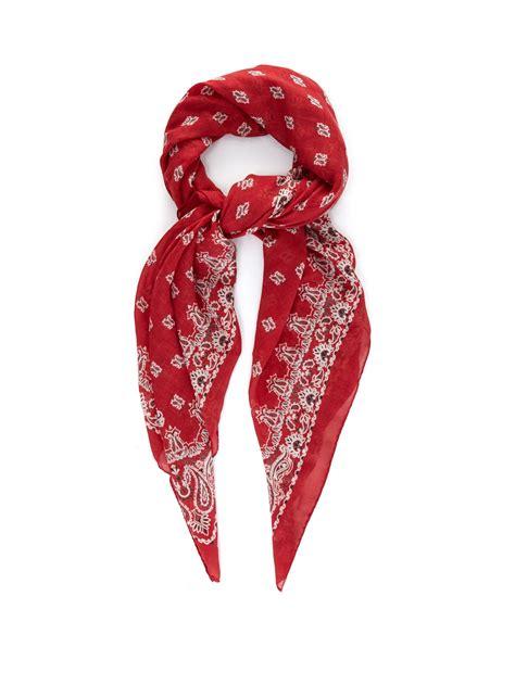 laurent bandana print and silk blend scarf