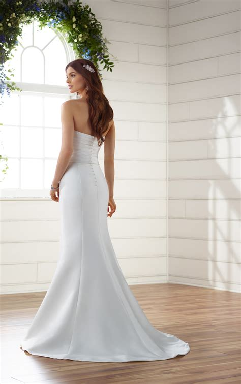 simple silk wedding dress  detachable train essense