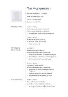 Lebenslauf Muster Zum Eintragen 1000 Images About Lebenslauf Vorlagen Muster On Vorlage Cv Template And Free Cv