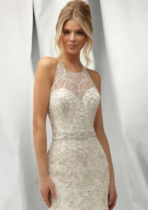 embroidered allover design morilee bridal intricately beaded wedding dress with