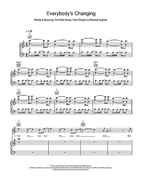 tutorial piano keane everybody s changing sheet music by keane piano vocal