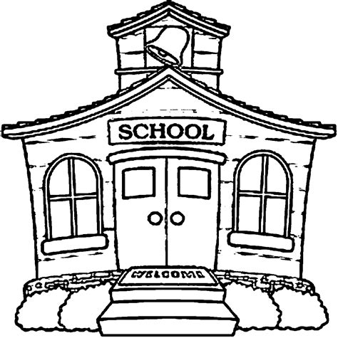 coloring page of a school building coloring home coloring