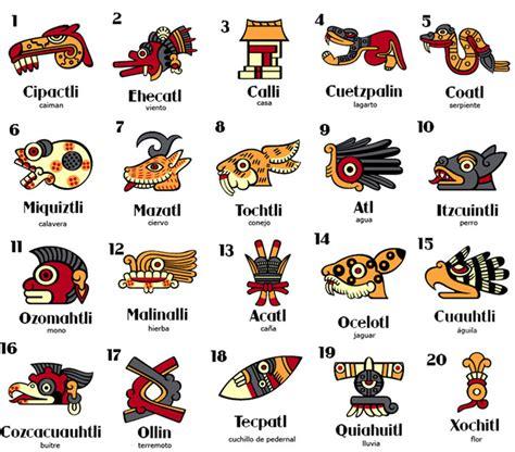 imagenes de signos aztecas calendario azteca 20 d 205 as nombres en n 193 huatl espa 209 ol e