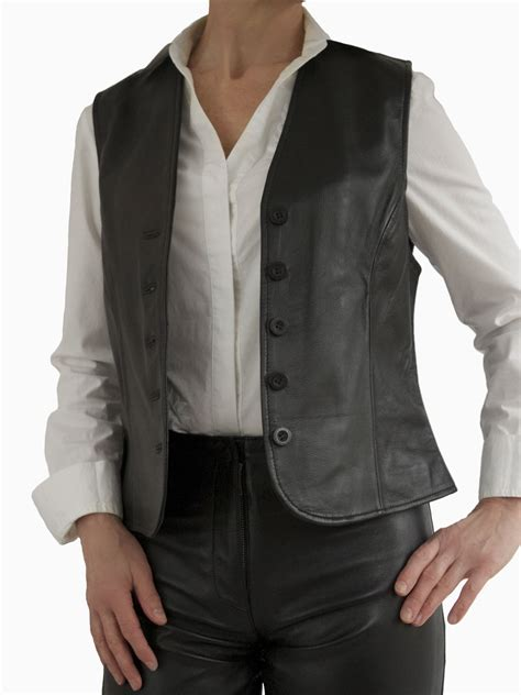 leather waistcoat womens black leather waistcoat with buttons tout ensemble