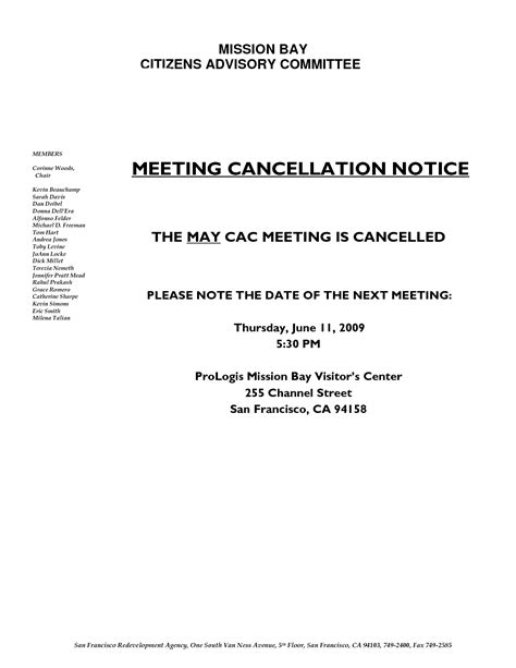Cancellation Notice Format Safety Committee Meeting Agenda Template Invitation