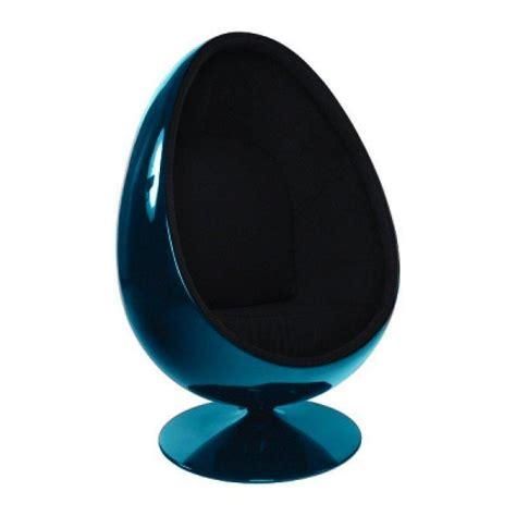 fauteuil pivotant oeuf fauteuil pivotant oeuf egg chair coque bleue interieur velours noir design 70 s