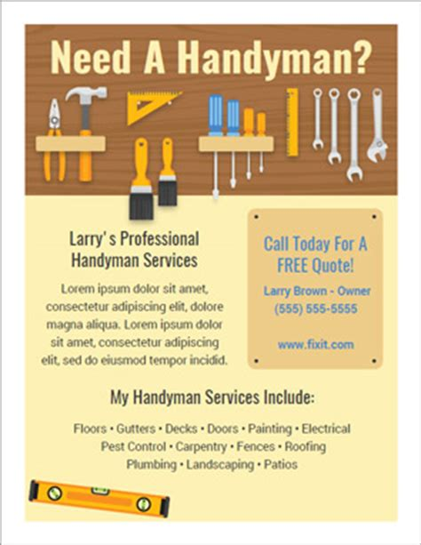 Best Handyman Flyers For Sale Handyman Flyer Template Free