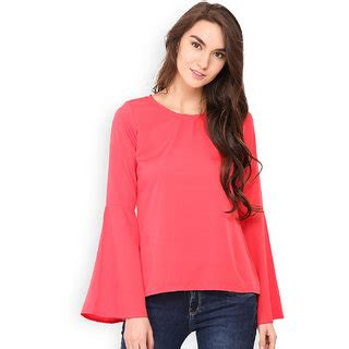Bell Sleeve Plain Top westrobe pink plain bell sleeve top buy westrobe