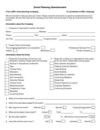 Wedding Planner Questionnaire by 32 Sle Questionnaire Templates In Microsoft Word