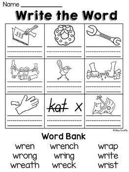 kn pattern words wr kn gn silent letters worksheets activities no prep