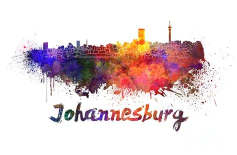 acrylic paint johannesburg johannesburg skyline in watercolor painting by pablo romero