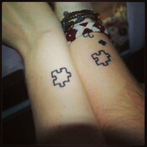 small puzzle piece tattoo matching puzzle tattoos on wrists for best friends
