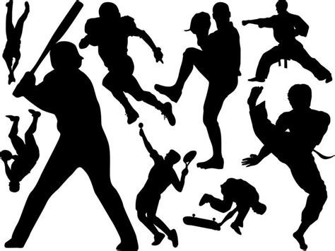 sports silhouettes wall decal set silhouettes