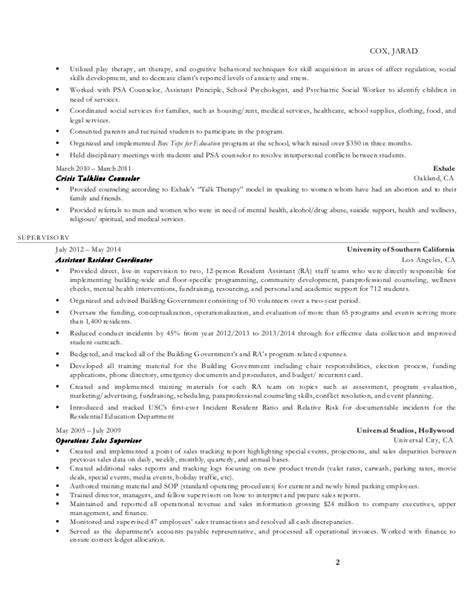 Play Therapist Cover Letter by R 233 Sum 233 Cox Jarad