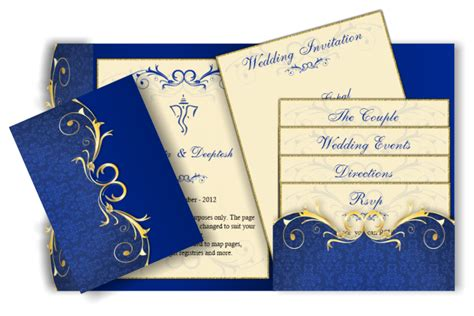 blue gold wedding card template pocket style email indian wedding invitation card design 61