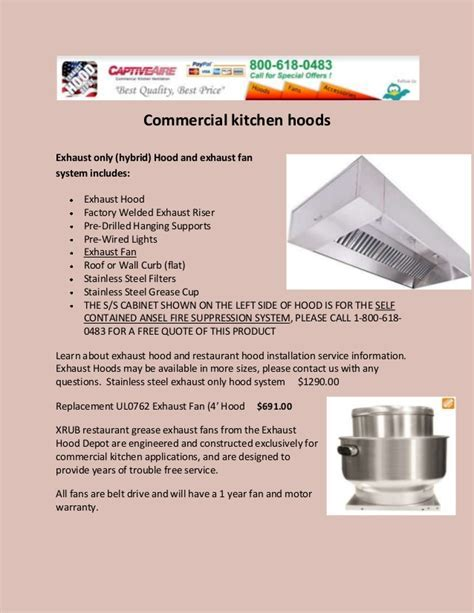 Commercial kitchen hoods