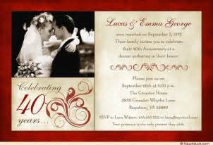 40th wedding anniversary invitations plumegiant