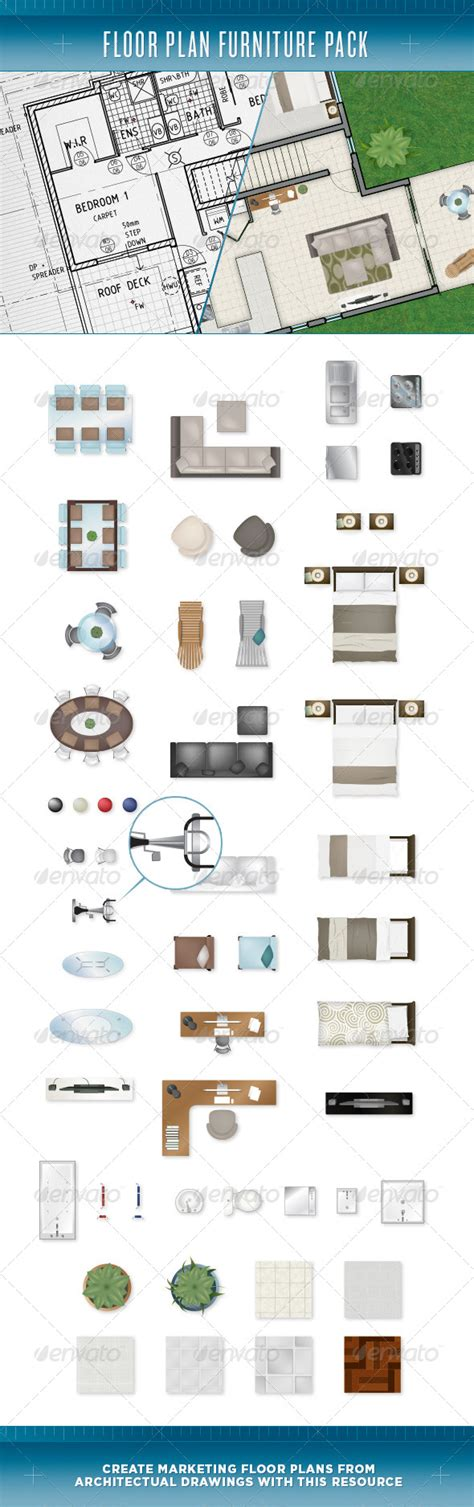 floor plan objects floor plan furniture pack graphicriver