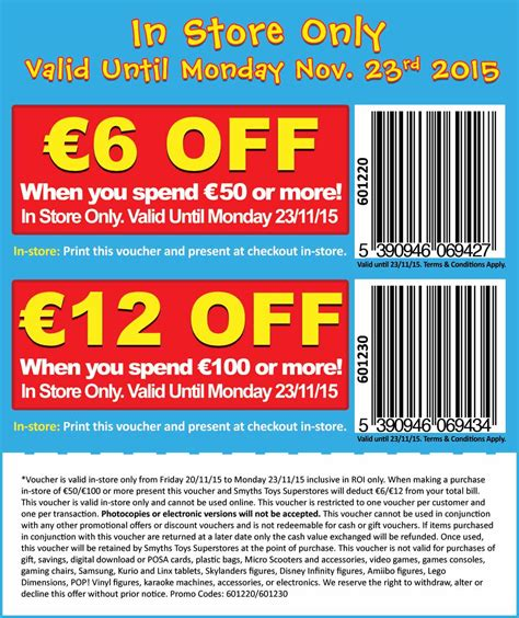 discount vouchers smyths toy shop smyths toys voucher 6 12 off with 50 100 spend in
