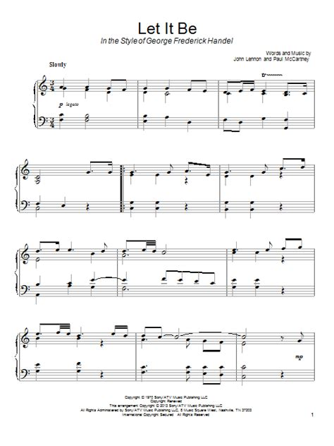 let it be printable sheet music let it be sheet music direct